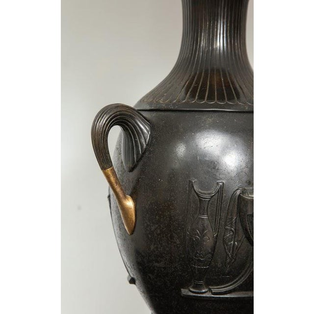 Mid 19th Century Pair of Antique French Bronze Urn Lamps in the Neoclassic Manner For Sale - Image 5 of 7