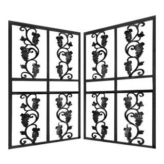 Mid Century Fer Forge Iron Gate Panels Featuring Grapes and Vines - a Pair For Sale