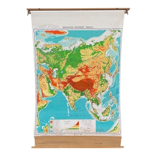 Mid 20th Century Denoyer Geppert Pull Down Map of Asia For Sale