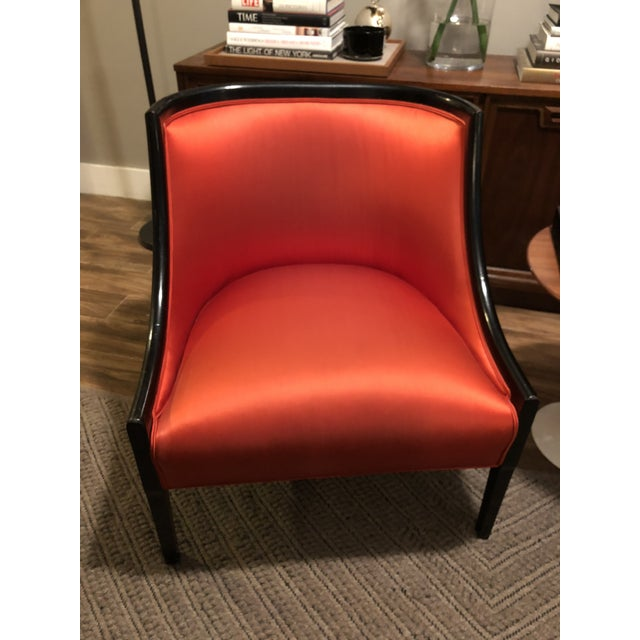 Extremely rare Barrel back, low arm, slipper chair. Recently re-stained and reupholstered in scarlet vermillion satin....