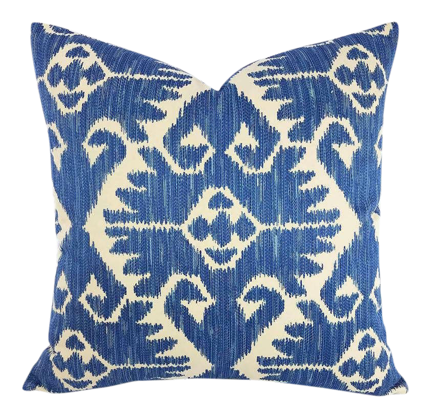 Bon Robert Allen Country Cabin In The Color Bluebell Pillow Cover