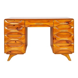 Midcentury Sculptured Pine Desk by the Franklin Shockey Company For Sale