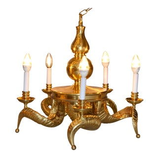 1950s Hollywood Regency Five Light Ram Horn Bronze Chandelier & Canopy For Sale
