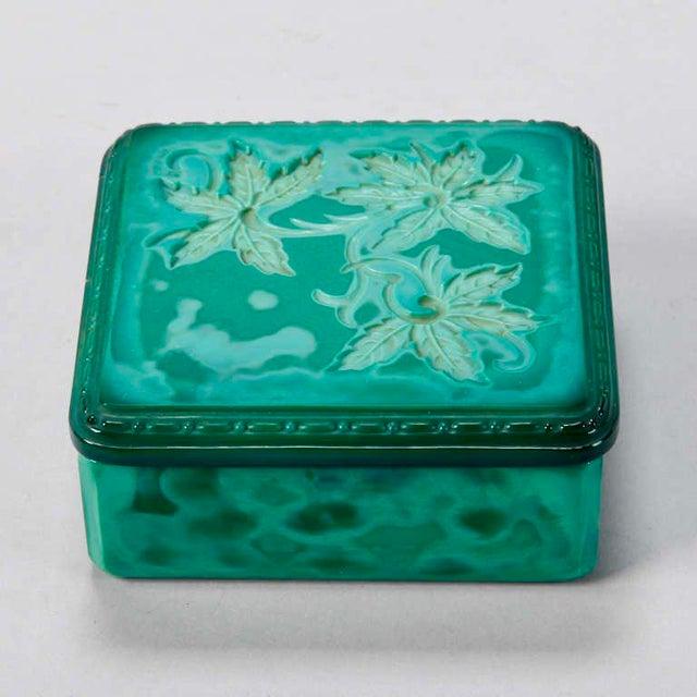 Art Deco Czech 1930's Bohemian malachite glass square dresser box with floral details. DEALER REFERENCE: 5801