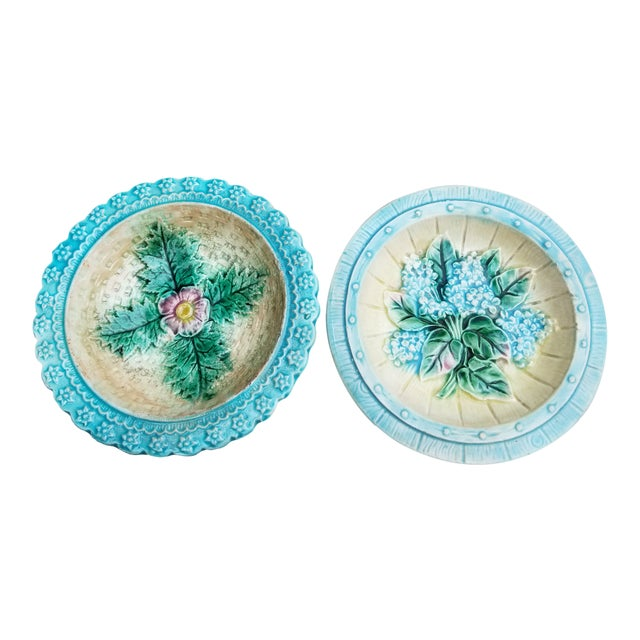 French Majolica Small Plates - a Pair For Sale