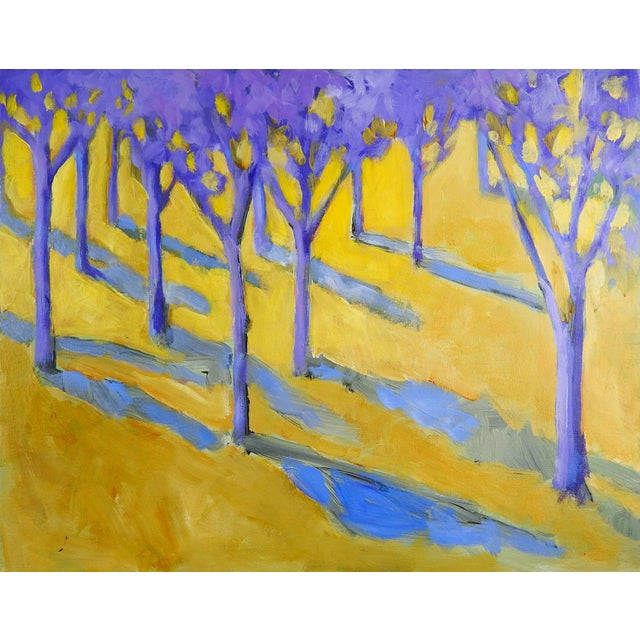 Abstract Purple & Yellow Landscape Painting For Sale - Image 3 of 3