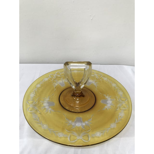 Art Deco Depression Glass Yellow Flashed Etched Center Handle Sandwich Tray For Sale - Image 3 of 6
