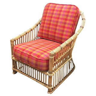 "Restored ""President's"" Art Deco Stick Rattan Lounge Chair For Sale"
