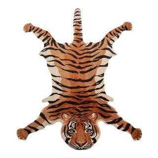 Vintage Wool Tiger Rug - Made in India For Sale