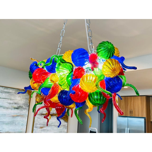 Murano Chihuly Style Hand Blown Murano Glass Chandelier For Sale - Image 4 of 11