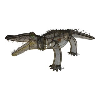 1960's Kinetic Wire Alligator Sculpture For Sale