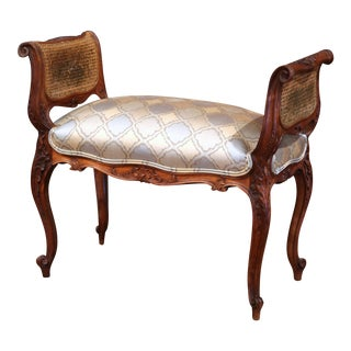 19th Century French Louis XV Carved Walnut Piano Bench with Silk and Cane Sides