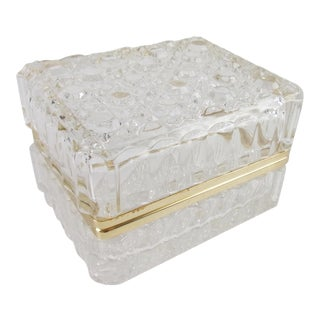 Vintage Cut Glass Lead Crystal Hinged Jewelry Trinket Box For Sale