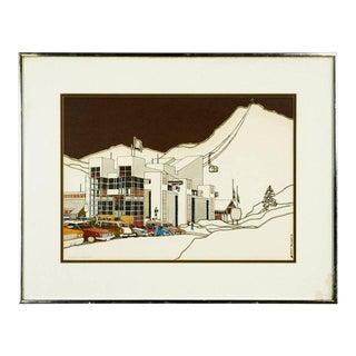 Midcentury Original Print Squaw Valley by Woody Hansen, 1973