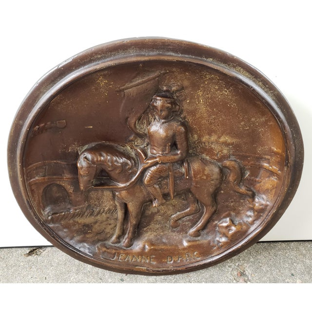 """Up for sale is an Early 20th Century French Jeanne D'Arc Raised Relief Plaster Wall Plaque! It measures 15 1/4"""" in..."""