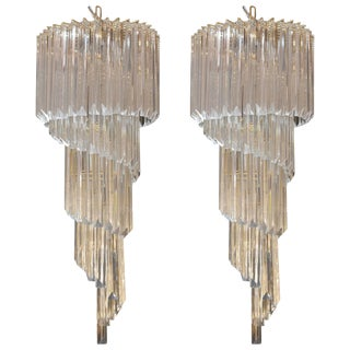 Pair of Venini Chandeliers For Sale