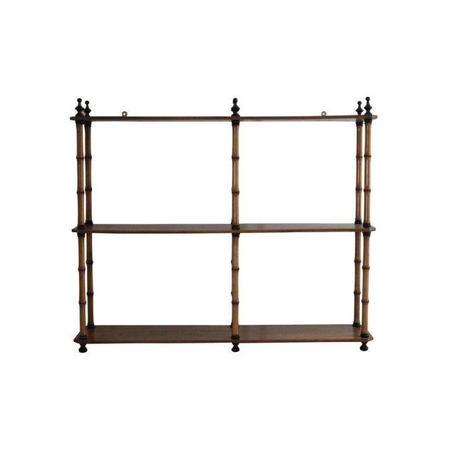 Mid-Century Three-Tiered Bamboo Wall Shelf - Image 2 of 3