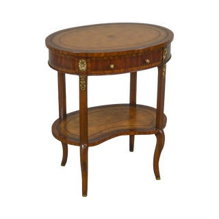 Maitland Smith Regency Style Oval Mahogany Leather Top Side Table For Sale