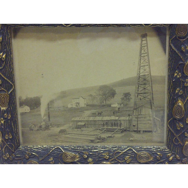 """This is a Vintage -- Framed Black And White Photograph -- Titled """"Old Oil Rig"""" -- Circa 1880."""