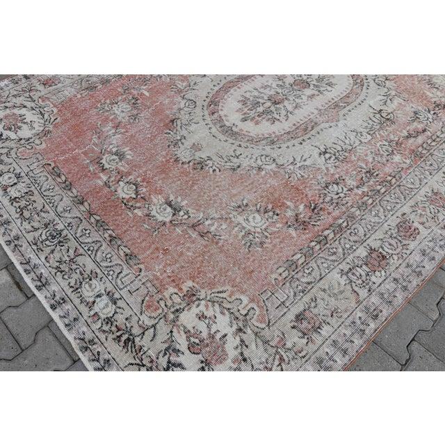 Nomadic Antique Handmade Muted Anatolian Faded Salmon Carpet - 6′9″ × 9′2″ - Image 9 of 10