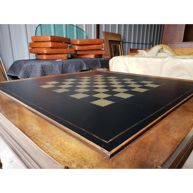 """1980s 1980s Hollywood Regency Drexel """"Et Cetera"""" Game Table Leather Top Game Table For Sale - Image 5 of 11"""