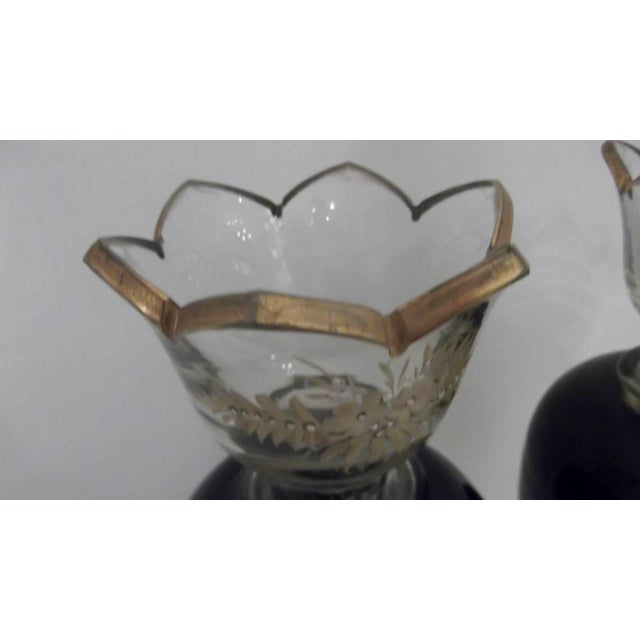 Antique Hand Enameled European Glass Garniture Vases - A Pair For Sale - Image 4 of 7