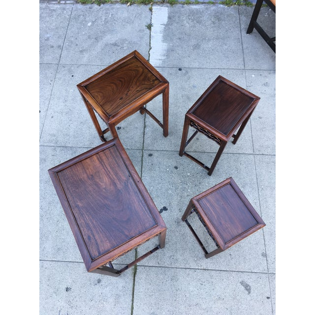 20th Century Chinese Rosewood Nesting Tables - Set of 4 For Sale - Image 10 of 12