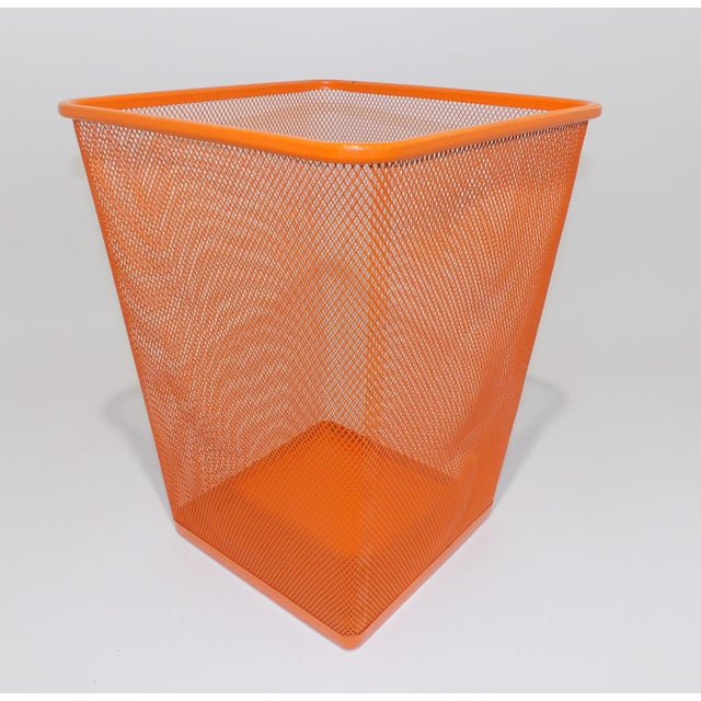 Mid Century Modern Orange Metal Wire Trash Can For Sale In Sacramento - Image 6 of 8