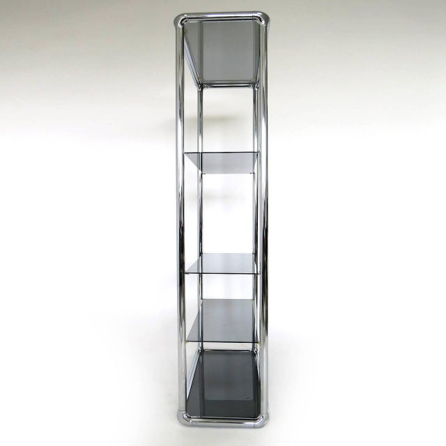 Modern Chrome and Smoked Glass Etagere For Sale - Image 3 of 6