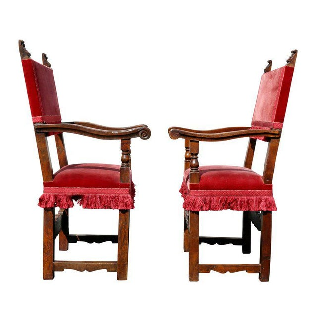 Red Assembled Set of Six Italian Baroque Walnut Dining Chairs For Sale - Image 8 of 12
