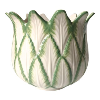 Vintage Porcelain Tobacco Leaf Cachepot