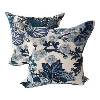 Schumacher Blue Chiang Mai Pillows - A Pair