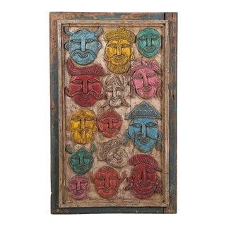 Rajasthan Wood Panel With Folk Masks For Sale