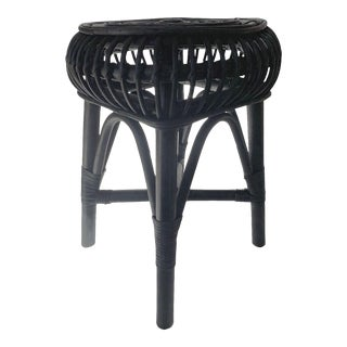 Boho Chic Black Rattan Stool For Sale