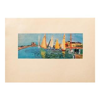 """1940s Raoul Dufy Original Period Swiss Lithograph """"Deauville Regatta"""" For Sale"""