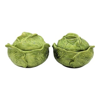 20th Century Cottage Green Holland Mold Cabbage Dishes - a Pair For Sale