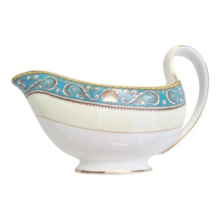 Wedgwood Runnymede Turquoise Gravy Boat With Shell Motif For Sale