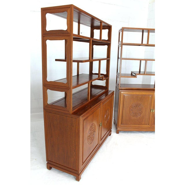 1990s Asian Solid Teak Étagère/Double Carved Door Cabinets - a Pair For Sale - Image 10 of 14