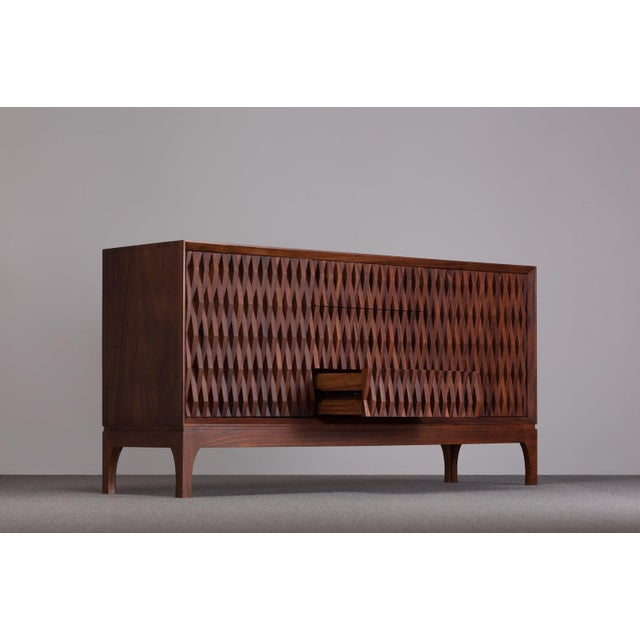 Contemporary Ebb and Flow Pattern Credenza For Sale - Image 3 of 5