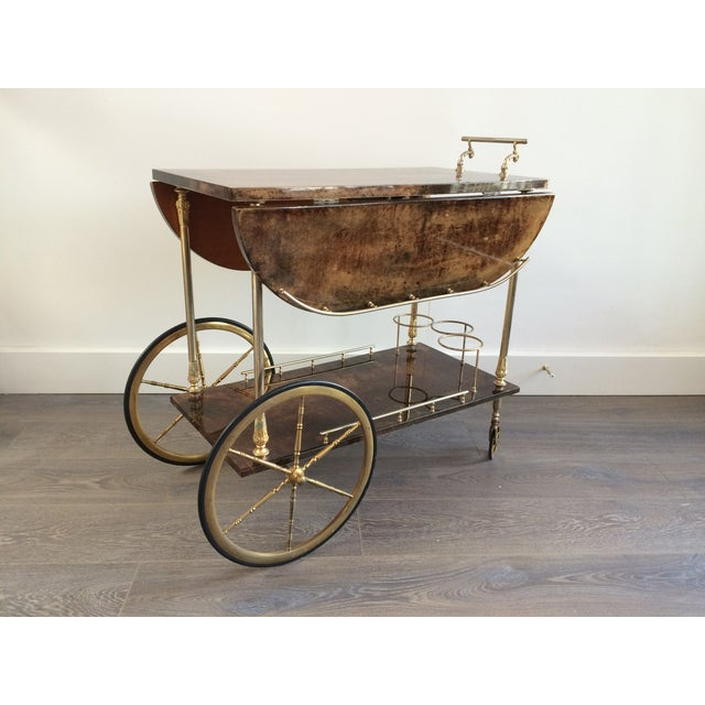 Aldo Tura '50s Brass & Lacquered Goatskin Bar Cart - Image 2 of 11