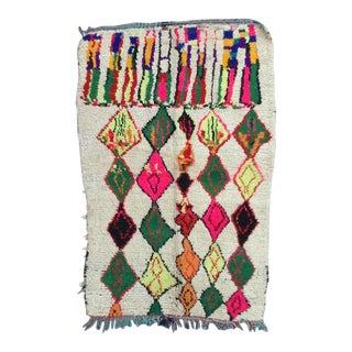 Vintage Moroccan Rug- 4′ × 5′9″ For Sale
