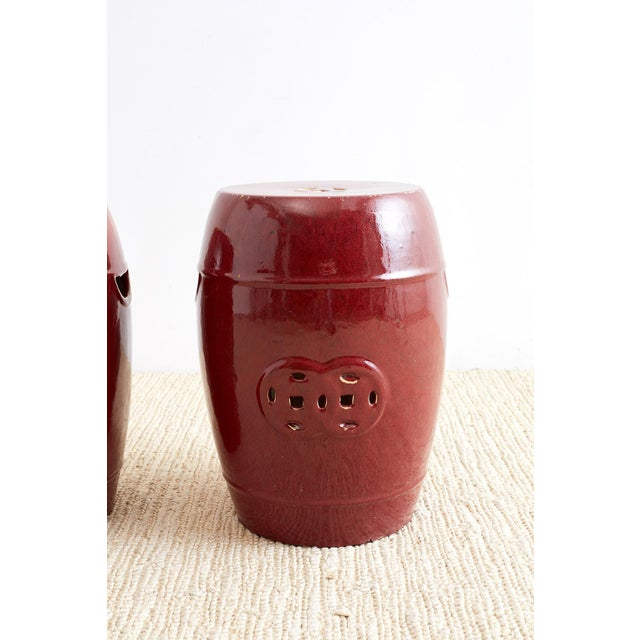 Chinese Oxblood Sang De Boeuf Style Garden Stools For Sale - Image 4 of 13