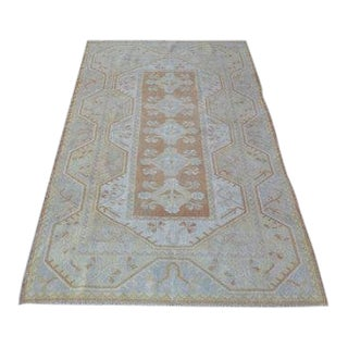 1960s Vintage Turkish Handmade Rug - 3′8″ × 6′7″ For Sale