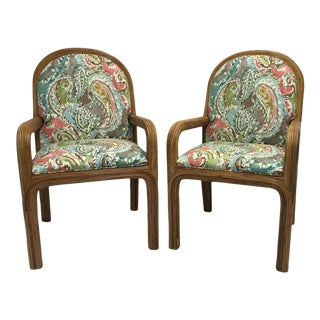 Pencil Reed Rattan Chairs, a Pair For Sale