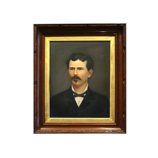 Untitled Oil Portrait of Victorian Gentelman with Mustache c. 1880s For Sale