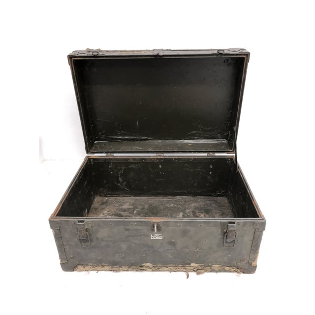 Vintage Wood Foot Locker. Drab green covering is worn and stripping away for a nice, wartorn look. Piece sits flat and...