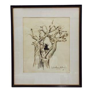 Black & Gold Framed Tree Sketching For Sale