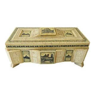 Vintage Mid Century Grand Tour Style Italian Carved Bone Dresser Box For Sale