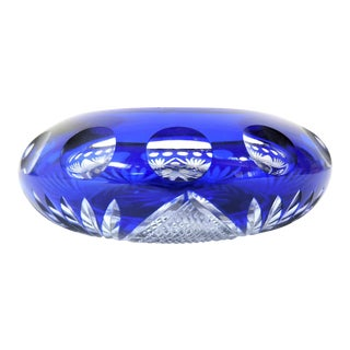 Antique English Late Victorian Cut-To-Clear Blue Glass Moon & Stars Ashtray For Sale