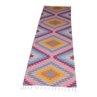 "Turkish Flat Weave Wool Pink Diamond Runner Kilim Rug - 2'8"" X 10' For Sale"
